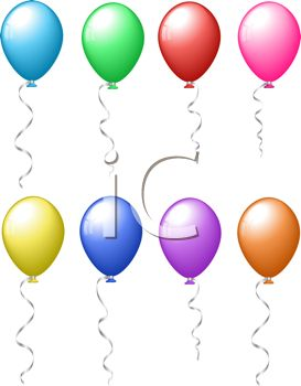 picture of several different colored balloons floating in the air in a vector clip art illustration