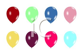 picture of different colored balloons in a vector clip art illustration