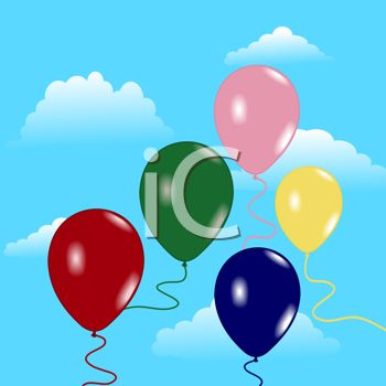 picture of an array of balloons floating in the air in a vector clip art illustration