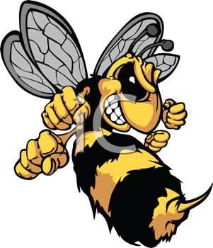picture of an angry cartoon yellow jacket getting ready to sting in a vector clip art illustration