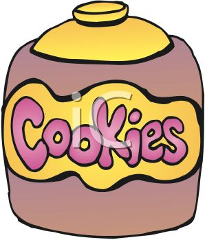picture of a cookie jar full of cookies in a vector clip art illustration