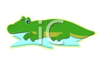 picture of a cartoon alligator laying in the water in a vector clip art illustration