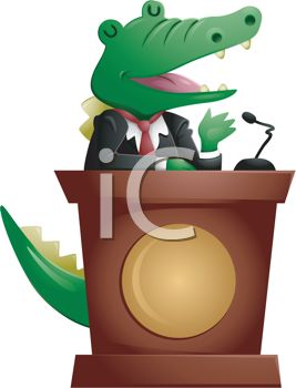 picture of a cartoon alligator wearing a suit, and giving a speech in a vector clip art illustration