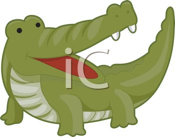 picture of a cartoon alligator with his mouth open in a vector clip art illustration