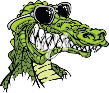 picture of the head of a cartoon alligator wearing sunglasses in a vector clip art illustration