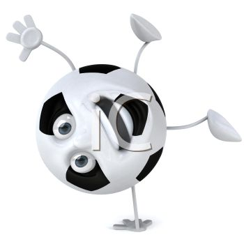 picture of an animated soccer ball with a face, arms, and legs standing on one hand in a vector clip art illustration