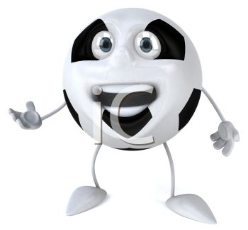 picture of an animated soccer ball with a face, arms, and legs with his mouth open in a vector clip art illustration