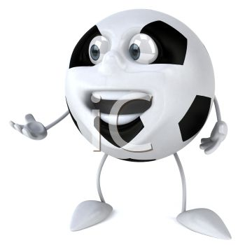picture of an animated soccer ball with a face, arms, and legs in a vector clip art illustration