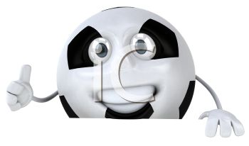 picture of an animated soccer ball with a face and arms in a vector clip art illustration
