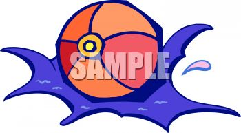 picture of a beachball splashing in the water in a vector clip art illustration