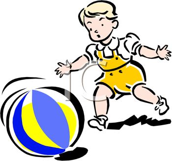 picture of a young child chasing a beach ball in a vector clip art illustration