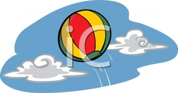 picture of a beach ball laying in the water in a vector clip art illustration