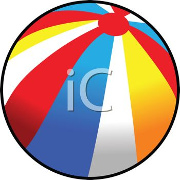picture of a bright striped beach ball in a vector clip art illustration