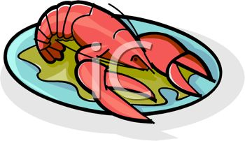 picture of a fresh cooked lobster on a plate of greens in a vector clip art illustration