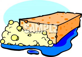 picture of a sponge with bubbles in a puddle of water in a vector clip art illustration