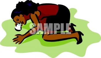 picture of a woman on her knees scrubbing the floor in a vector clip art illustration