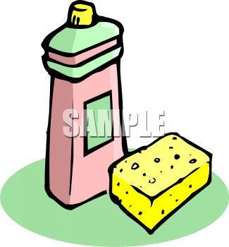 picture of a sponge and bottle of dish soap in a vector clip art illustration
