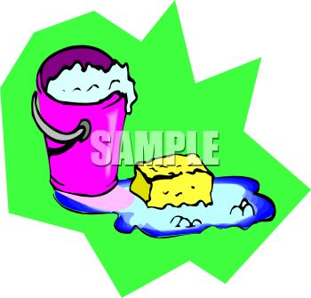picture of a bucket of soapy water and  sponge on the ground sitting in water in a vector clip art illustration