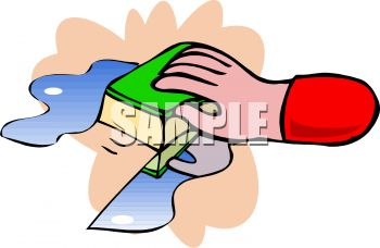 picture of a hand cleaning with a sponge in a vector clip art illustration