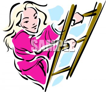 picture of a woman climbing a ladder in a vector clip art illustration