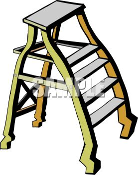 picture of a short step ladder in a vector clip art illustration