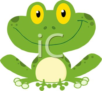 picture of a smiling frog sitting down in a vector clip art illustration