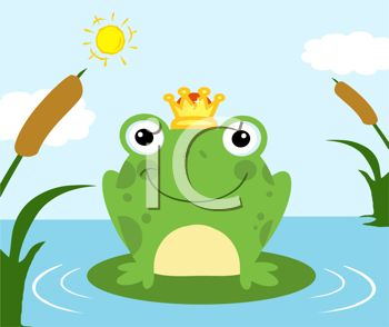picture of a frog wearing a crown sitting on a lily pad in the lake in a vector clip art illustration