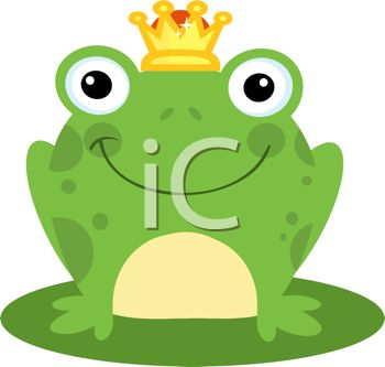 picture of a happy frog wearing a crown sitting on a lily pad in a vector clip art illustration