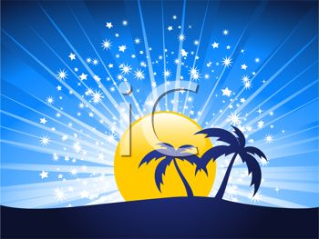 picture of a beautiful scenery of orange and blue starry skies with a full moon  with palm trees in a vector clip art illustration
