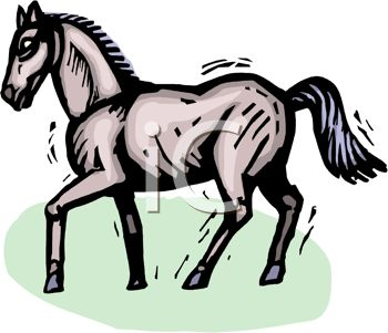 picture of a horse standing with it's front leg bent in a vector clip art illustration
