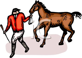 picture of a jockey pulling his horse in a vector clip art illustration
