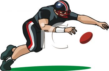 picture of a football player diving for the ball in a vector clip art illustration