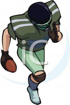 pictur eof a football player running for a touchdown in a vector clip art illustration
