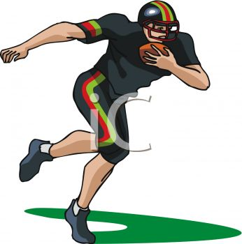 picture of a football player running with a football in a vector clip art illustration