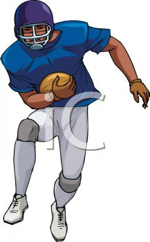 picture of a football player catching a ball in a vector clip art illustration