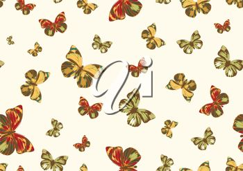 picture of an array of green, red, and yellow butterflies in a vector clip art illustration