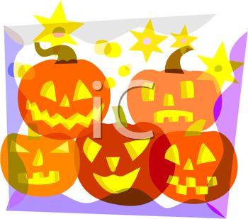 picture of 5 differently carved jack o lanterns on the front of a greeting card in a vector clip art illustration