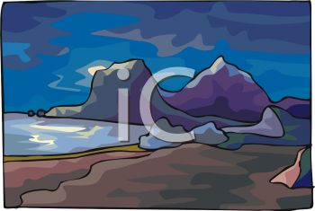 picture of the ocean with big rocks and the sandy beach in the evening in a vector clip art illustration