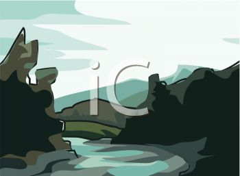 picture of a river running with rocks and mountains surrouding in a vector clip art illustration