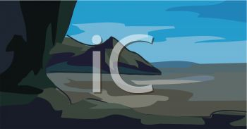 picture of an ocean with big rocks in a vector clip art illustration