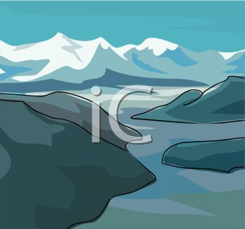 picture of a snowy mountain with water surrounding in a vector clip art illustration