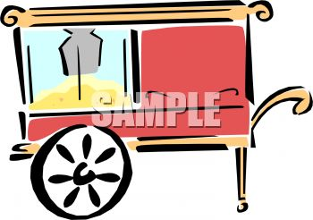 picture of a popcorn cart in a vector clip art illustration