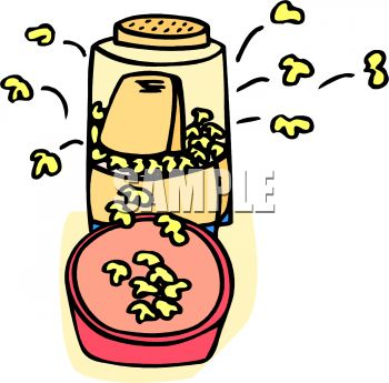 picture of an air popper popping popcorn in a vector clip art illustration