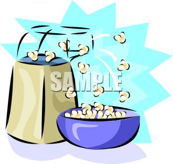picture of an air popper popping popcorn into a bowl with a blue star background in a vector clip art illustration