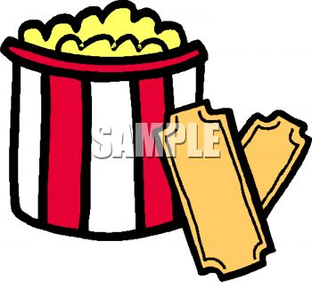 picture of a bucket of buttered popcorn with movie tickets in a rh clipartguide com movie tickets clip art free movie tickets clipart