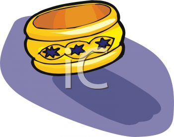picture of a bracelet on a blue background in a vector clip art illustration