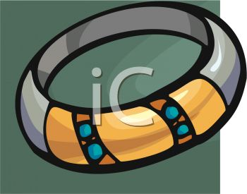 picture of a bracelet on a gray background in a vector clip art illustration