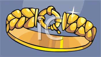 picture of a gold bracelet in a vector clip art illustration
