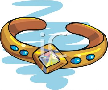 picture of a gold bracelet with blue stones in a vector clip art illustration