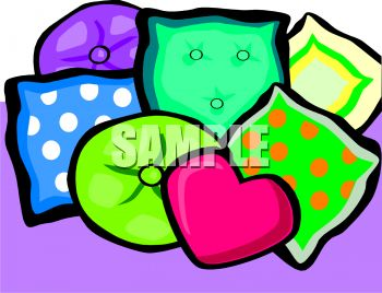 an array of colorful couch pillows on a purple background in a vector clip art illustration